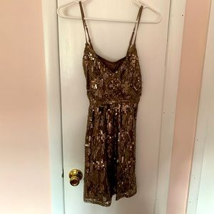 Express champagne sequin dress